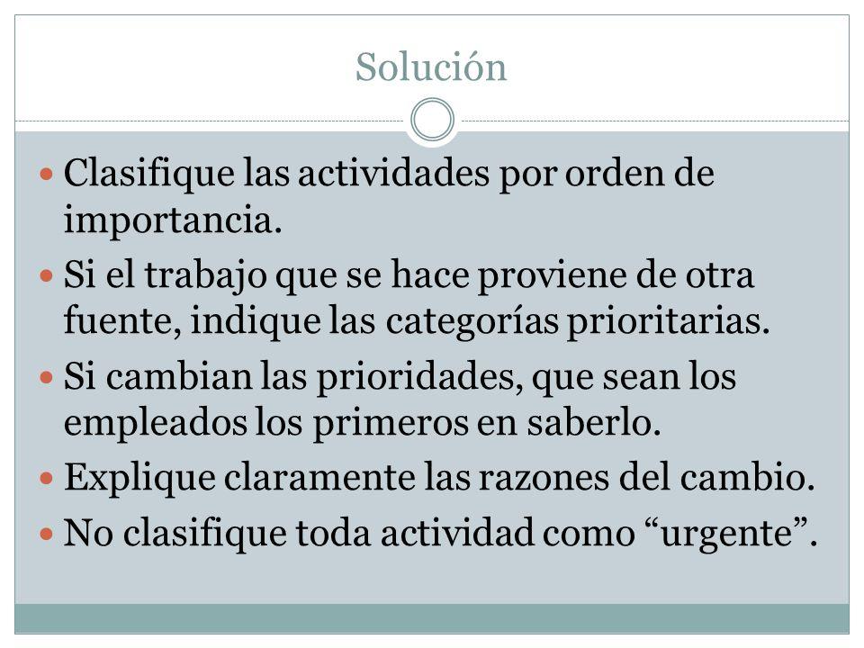Solución Clasifique las actividades por orden de importancia.