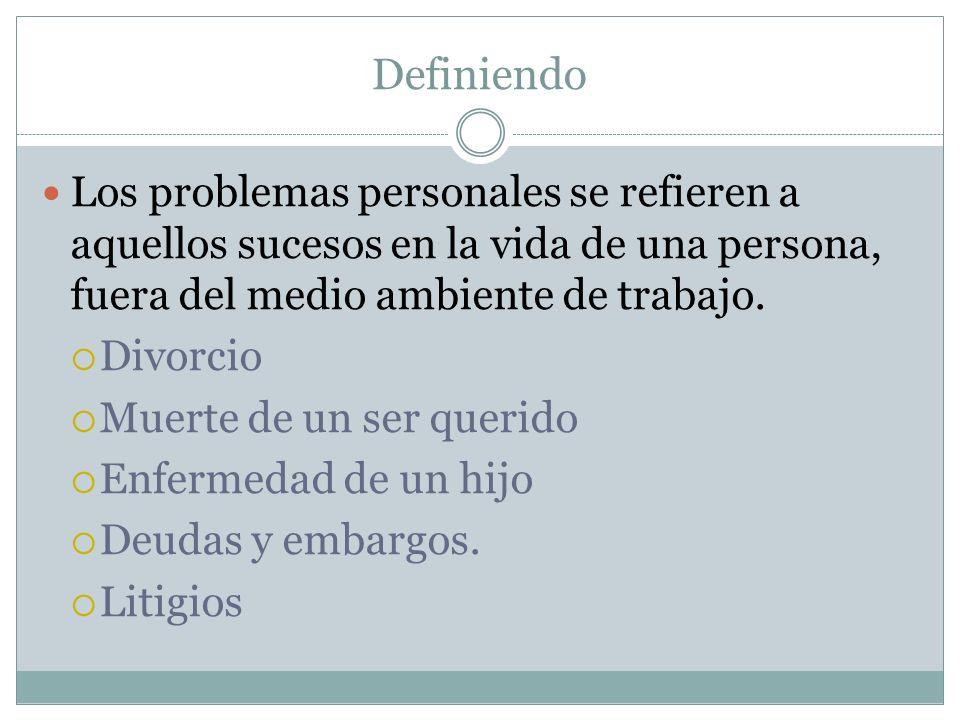 Definiendo Los problemas personales se refieren a aquellos sucesos en la vida de una persona, fuera del medio ambiente de trabajo.