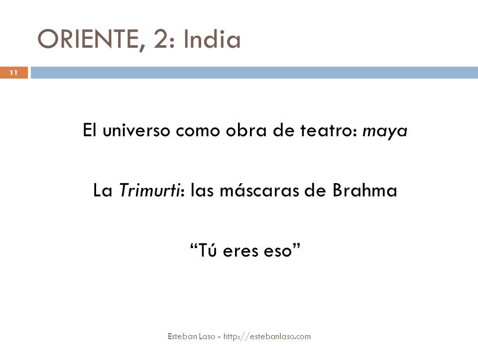 ORIENTE, 2: India El universo como obra de teatro: maya La Trimurti: las máscaras de Brahma Tú eres eso