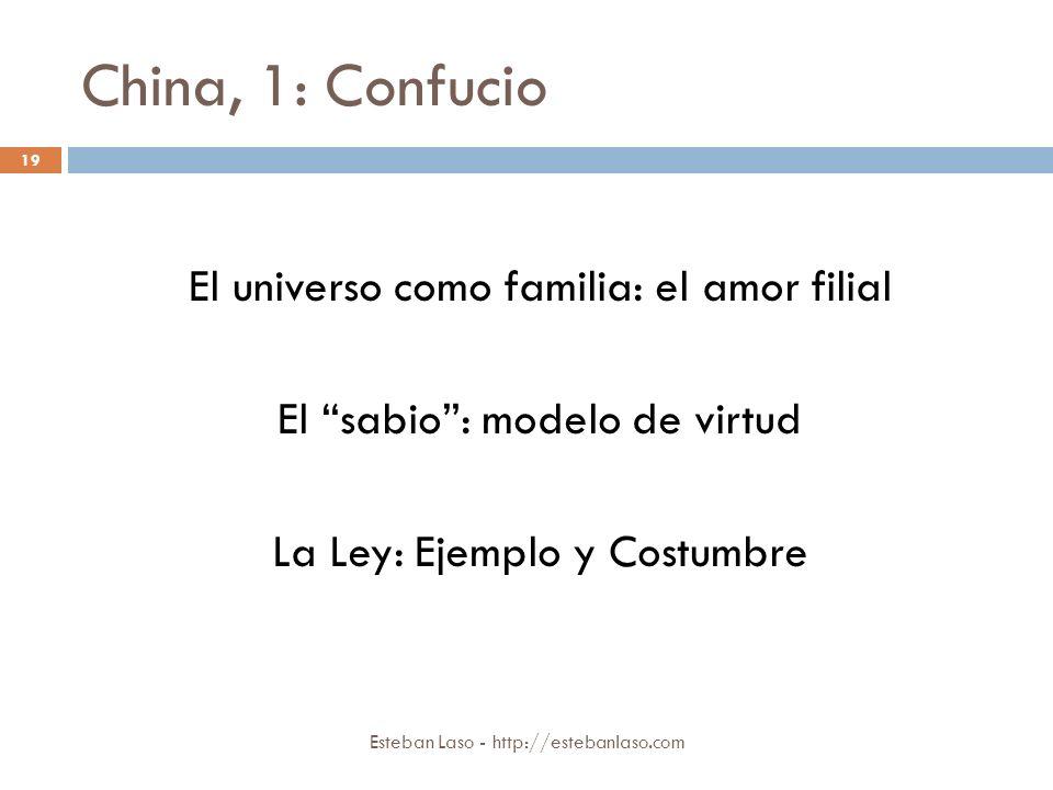 China, 1: Confucio El universo como familia: el amor filial El sabio : modelo de virtud La Ley: Ejemplo y Costumbre