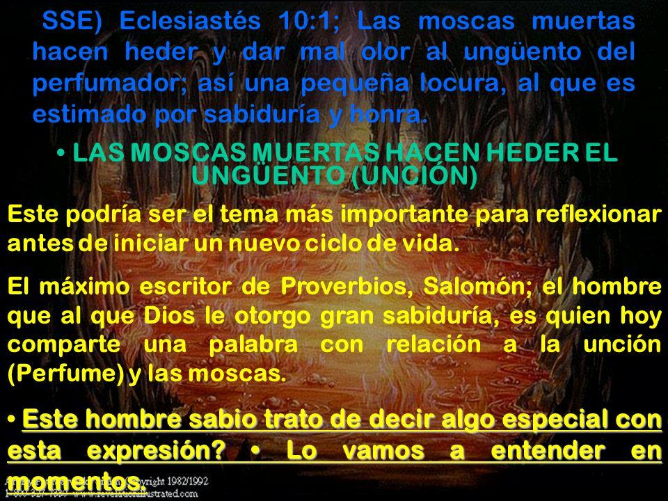 • LAS MOSCAS MUERTAS HACEN HEDER EL UNGÜENTO (UNCIÓN)