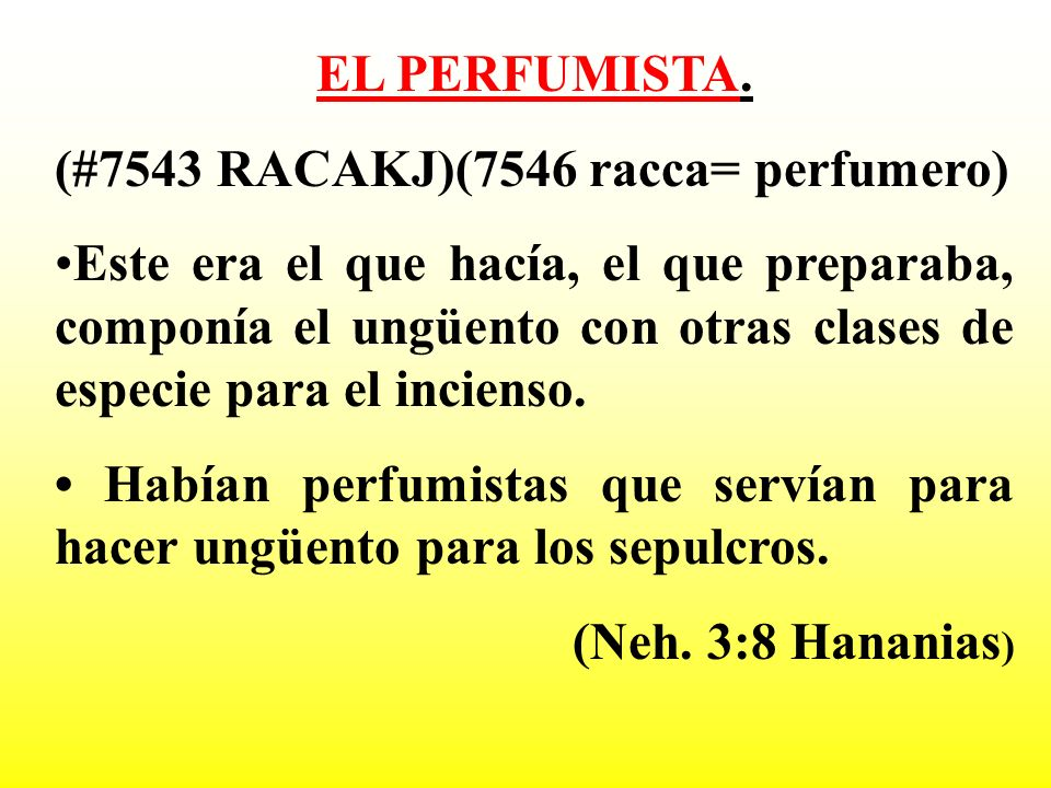 EL PERFUMISTA. (#7543 RACAKJ)(7546 racca= perfumero)