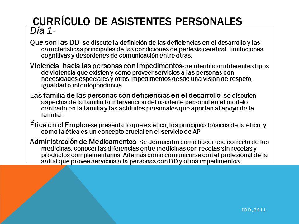 Currículo de Asistentes Personales