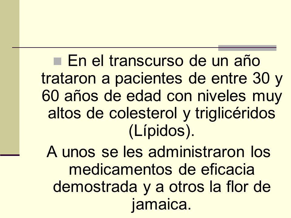 En el transcurso de un año trataron a pacientes de entre 30 y 60 años de edad con niveles muy altos de colesterol y triglicéridos (Lípidos).
