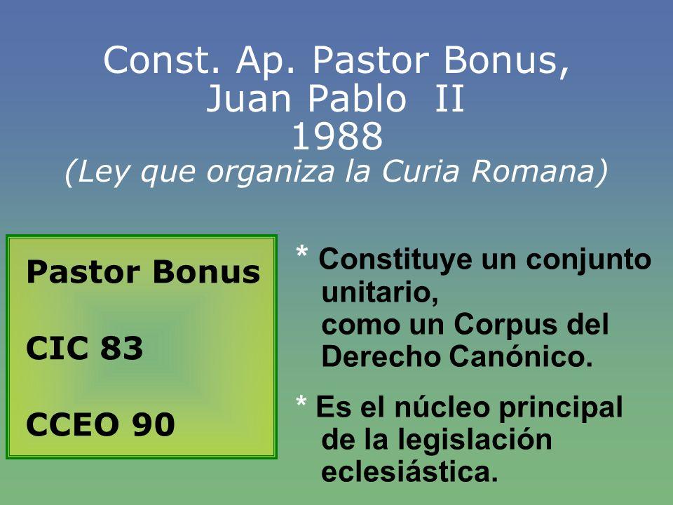 Const. Ap. Pastor Bonus, Juan Pablo II 1988 (Ley que organiza la Curia Romana)