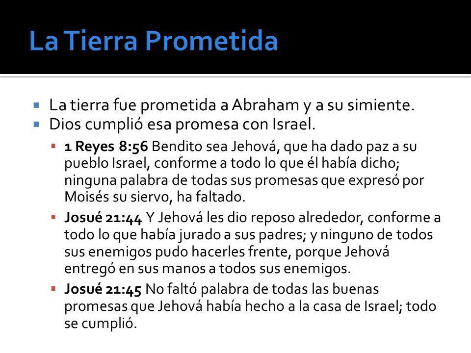La Tierra Prometida La tierra fue prometida a Abraham y a su simiente.