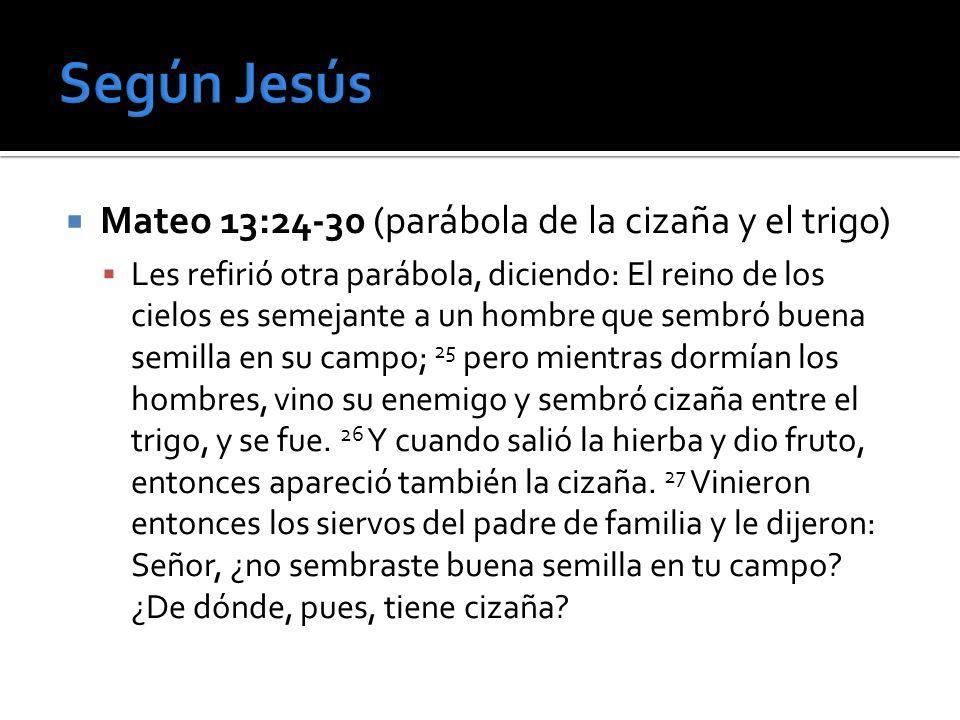 Según Jesús Mateo 13:24-30 (parábola de la cizaña y el trigo)