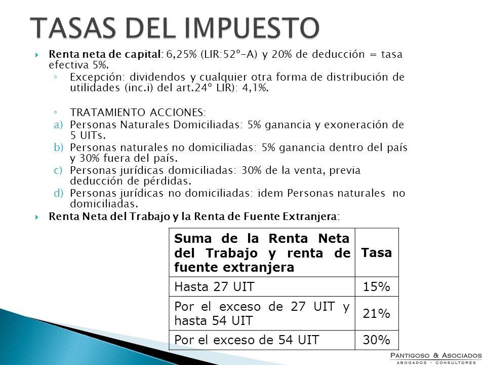 TASAS DEL IMPUESTO Renta neta de capital: 6,25% (LIR:52º-A) y 20% de deducción = tasa efectiva 5%.