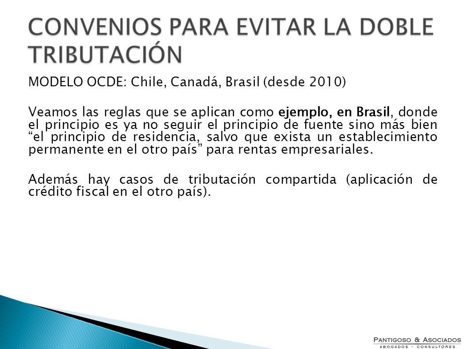 MODELO OCDE: Chile, Canadá, Brasil (desde 2010)