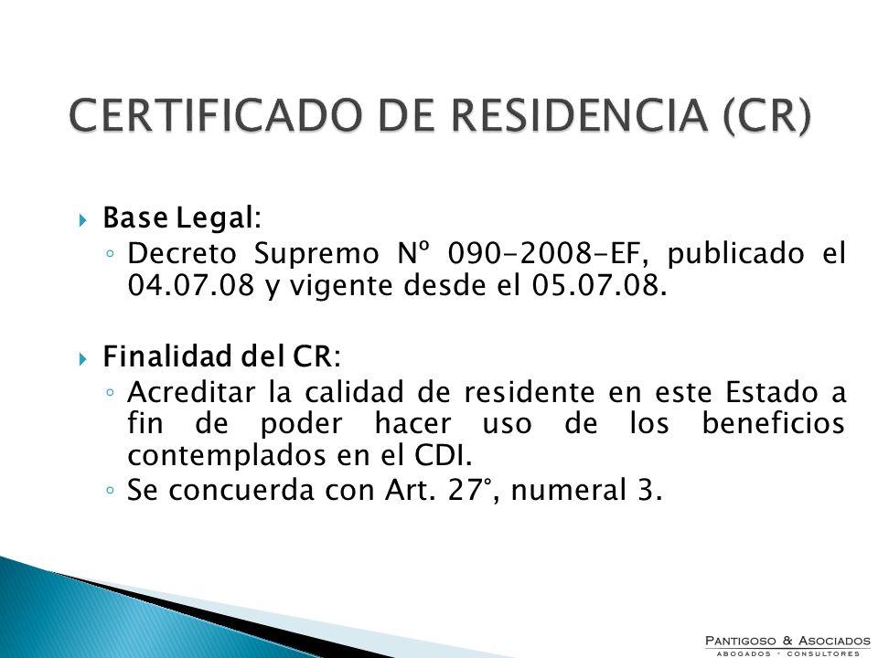 CERTIFICADO DE RESIDENCIA (CR)