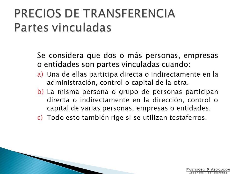 PRECIOS DE TRANSFERENCIA Partes vinculadas
