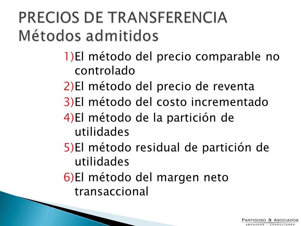 PRECIOS DE TRANSFERENCIA Métodos admitidos