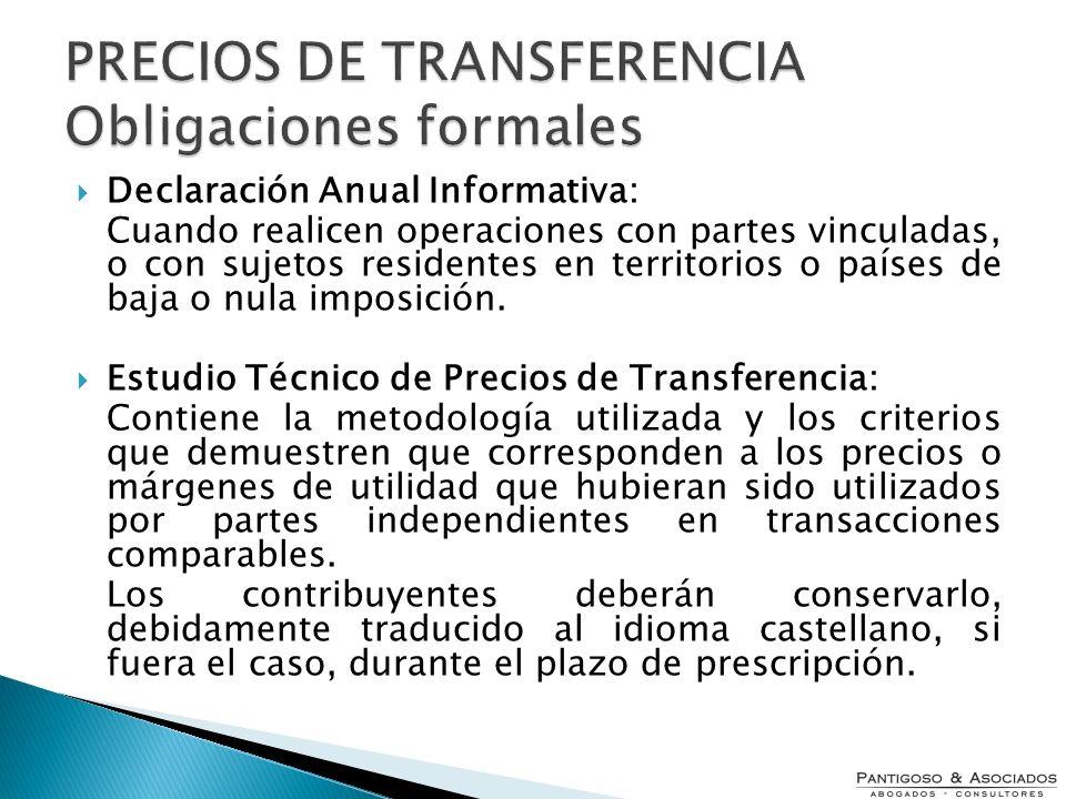 PRECIOS DE TRANSFERENCIA Obligaciones formales