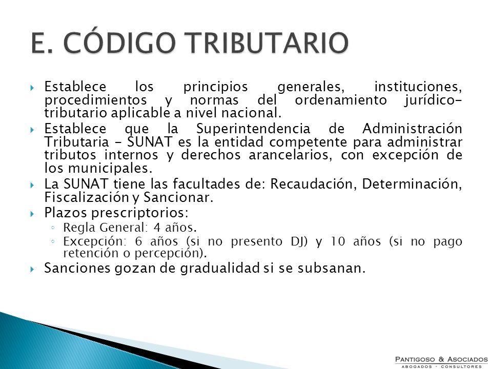 E. CÓDIGO TRIBUTARIO