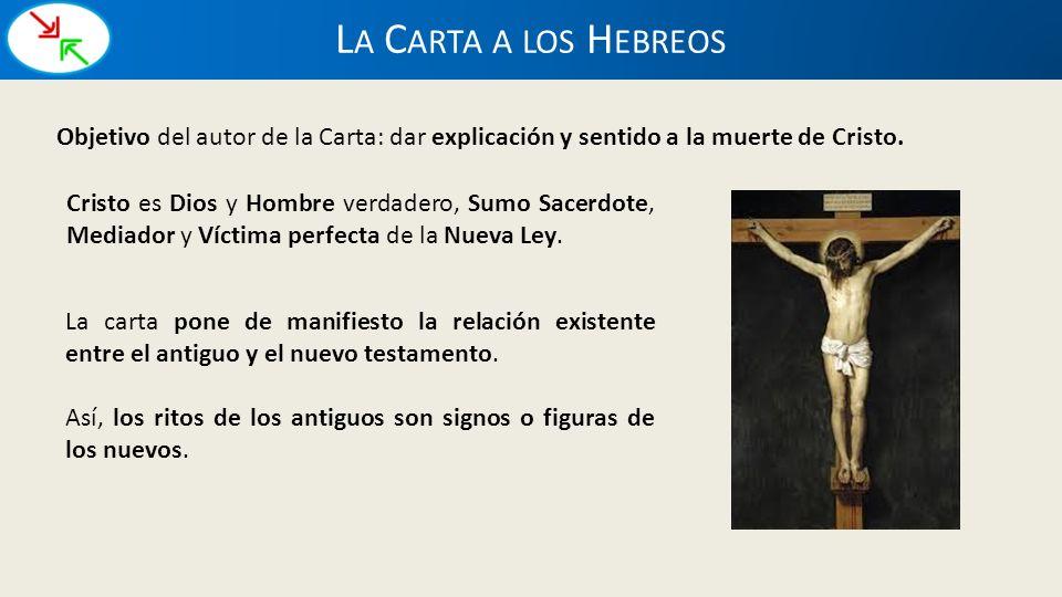 La Carta a los Hebreos Objetivo del autor de la Carta: dar explicación y sentido a la muerte de Cristo.