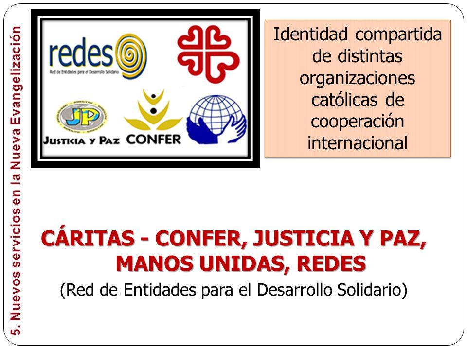 CÁRITAS - CONFER, JUSTICIA Y PAZ, MANOS UNIDAS, REDES
