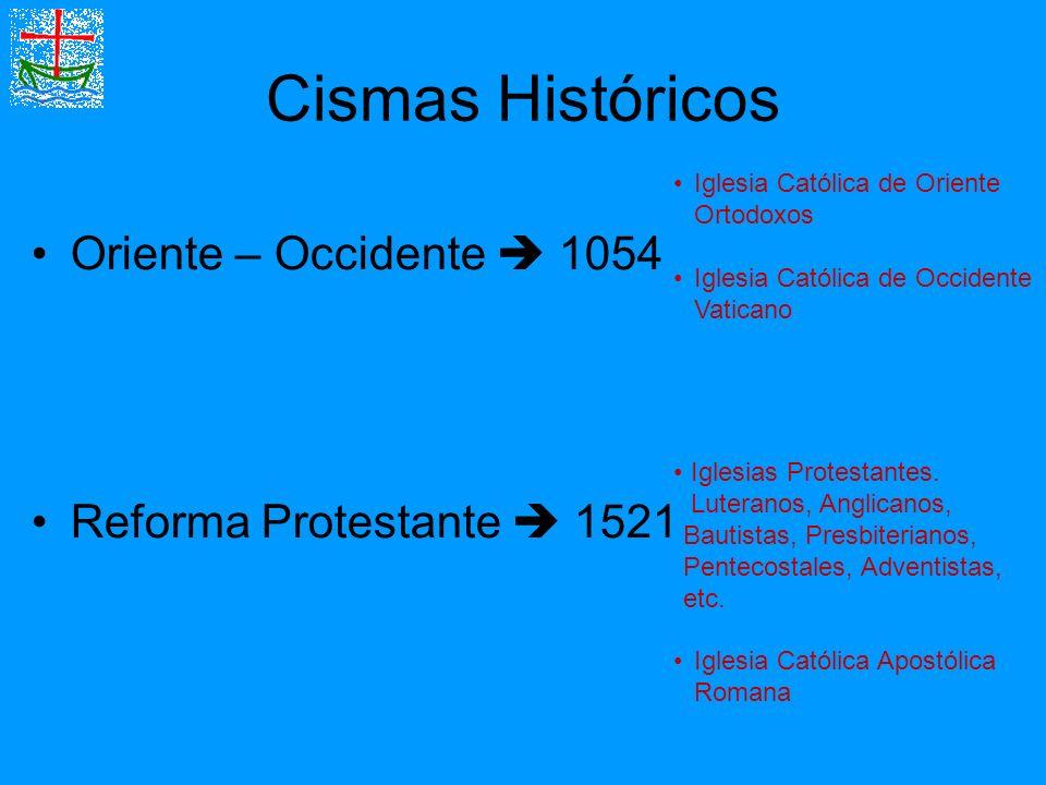 Cismas Históricos Oriente – Occidente  1054