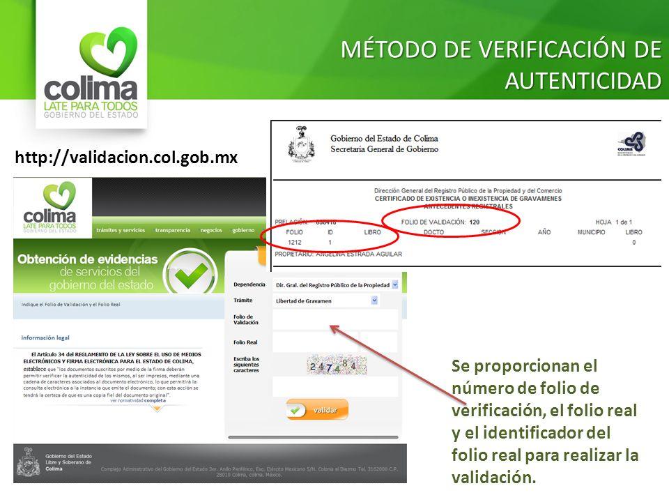 MÉTODO DE VERIFICACIÓN DE AUTENTICIDAD