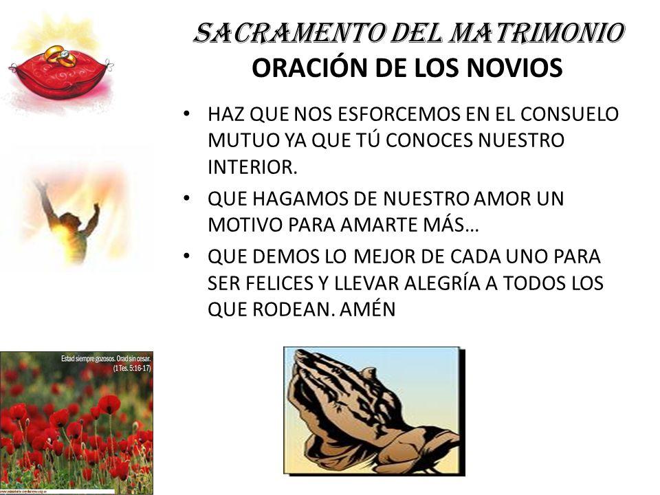 SACRAMENTO DEL MATRIMONIO ORACIÓN DE LOS NOVIOS