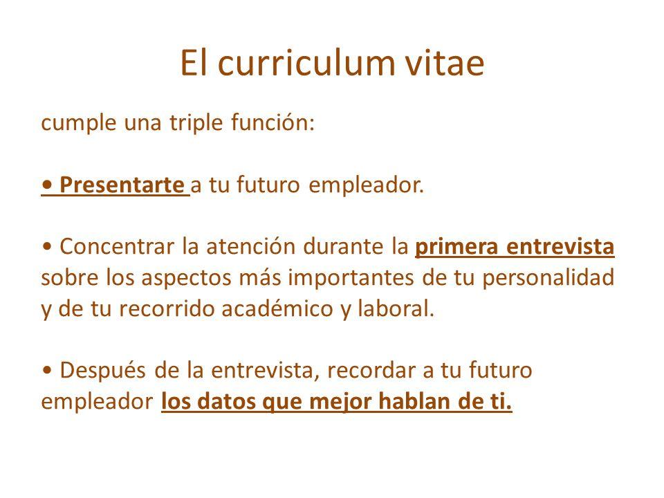 El curriculum vitae cumple una triple función: