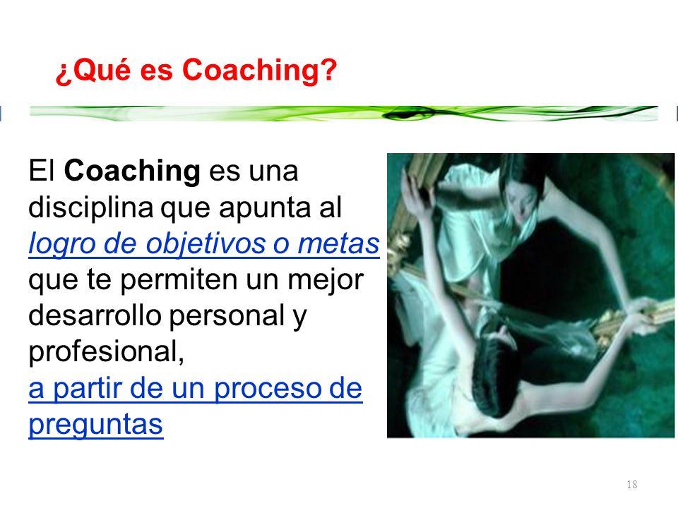 ¿Qué es Coaching El Coaching es una disciplina que apunta al logro de objetivos o metas que te permiten un mejor desarrollo personal y profesional,
