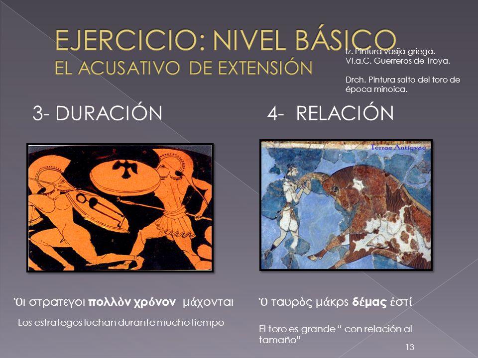 EJERCICIO: NIVEL BÁSICO EL ACUSATIVO DE EXTENSIÓN