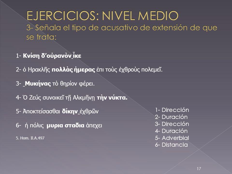 EJERCICIOS: NIVEL MEDIO 3- Señala el tipo de acusativo de extensión de que se trata: