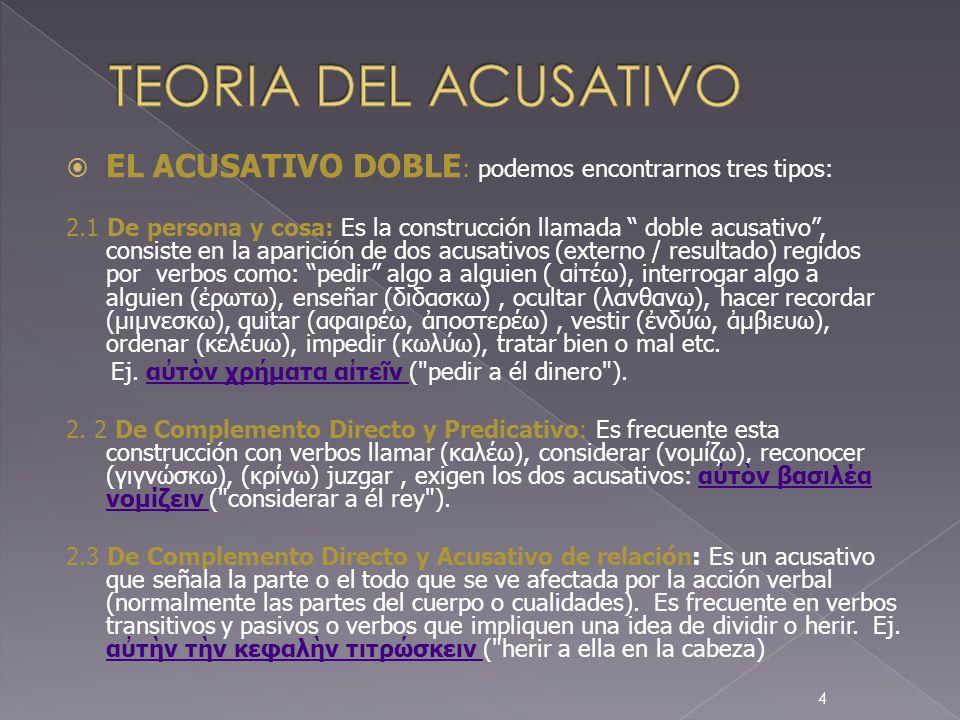 TEORIA DEL ACUSATIVOEL ACUSATIVO DOBLE: podemos encontrarnos tres tipos: