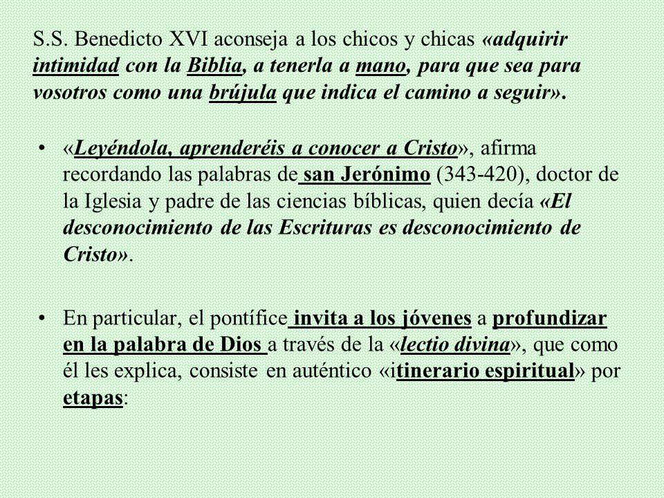 S.S. Benedicto XVI aconseja a los chicos y chicas «adquirir intimidad con la Biblia, a tenerla a mano, para que sea para vosotros como una brújula que indica el camino a seguir».