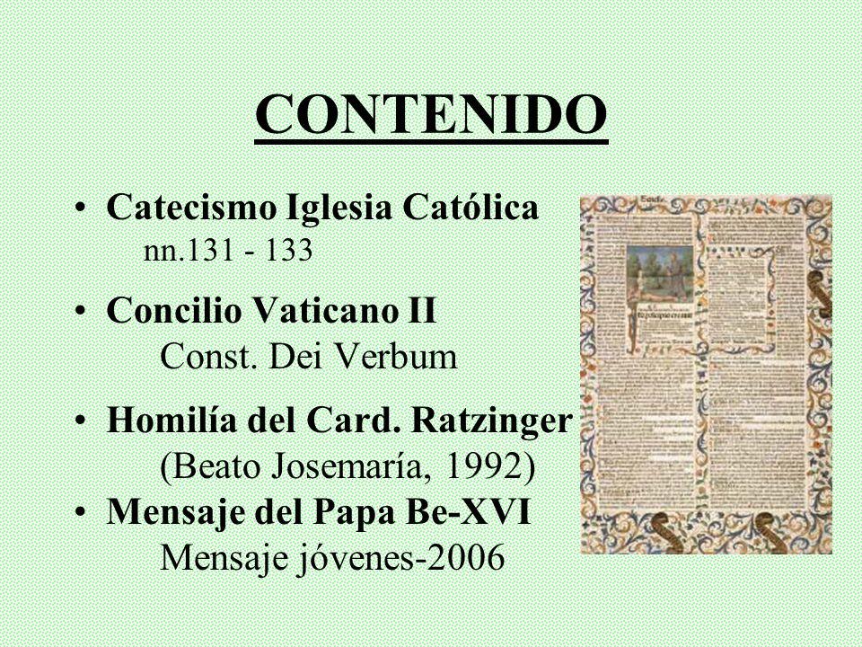 CONTENIDO Catecismo Iglesia Católica Concilio Vaticano II