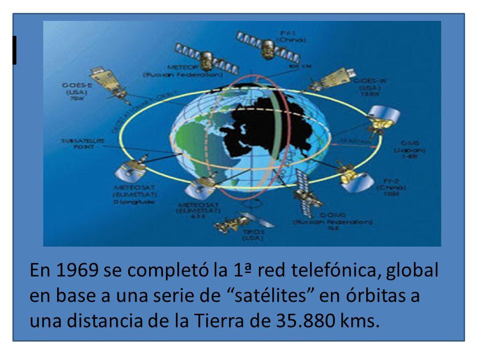 En 1969 se completó la 1ª red telefónica, global en base a una serie de satélites en órbitas a una distancia de la Tierra de 35.880 kms.