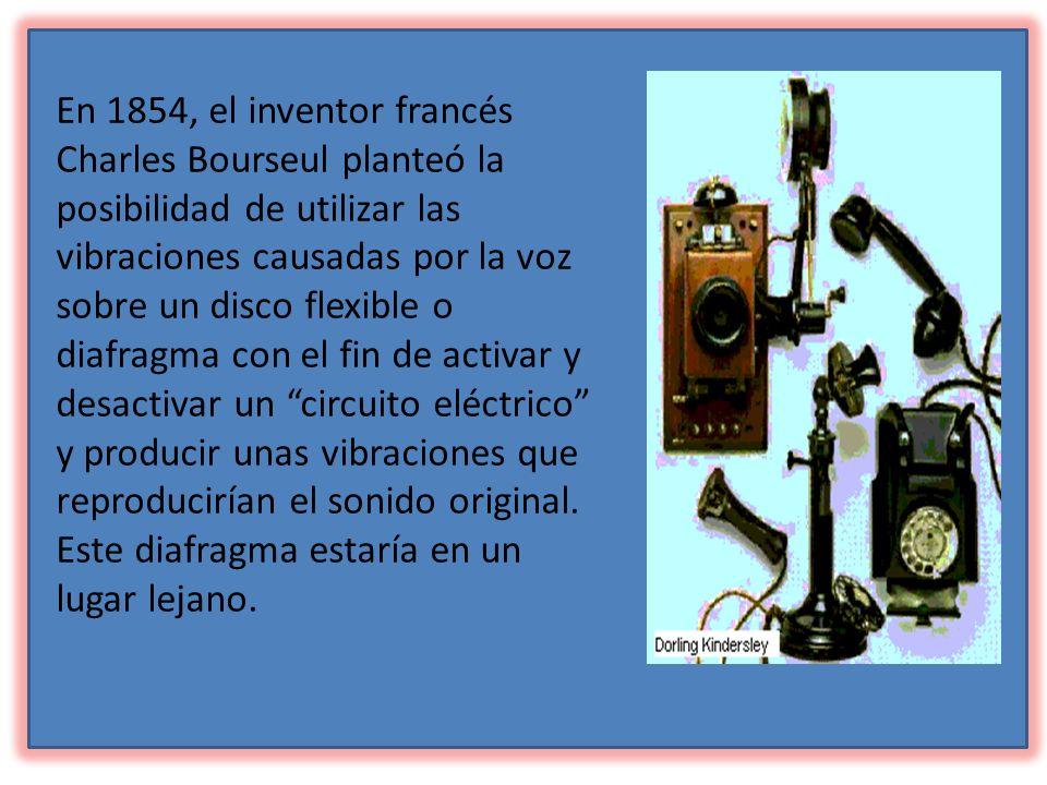 En 1854, el inventor francés Charles Bourseul planteó la posibilidad de utilizar las vibraciones causadas por la voz sobre un disco flexible o diafragma con el fin de activar y desactivar un circuito eléctrico y producir unas vibraciones que reproducirían el sonido original.