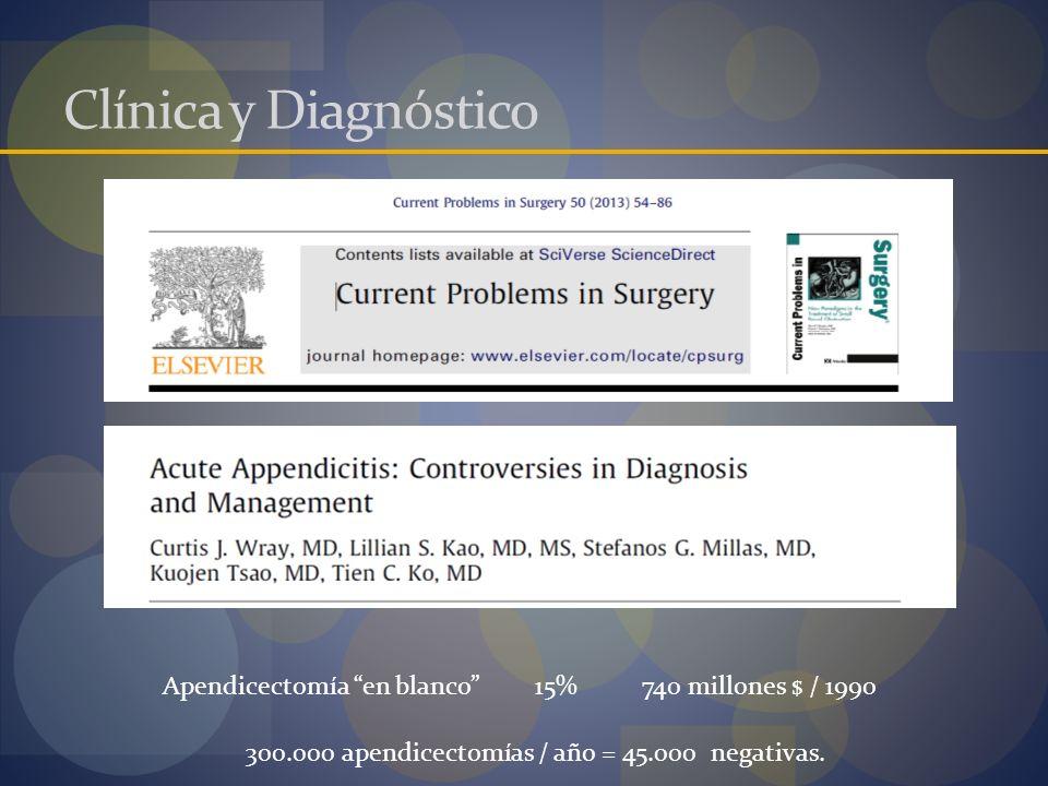 Clínica y Diagnóstico Apendicectomía en blanco 15%