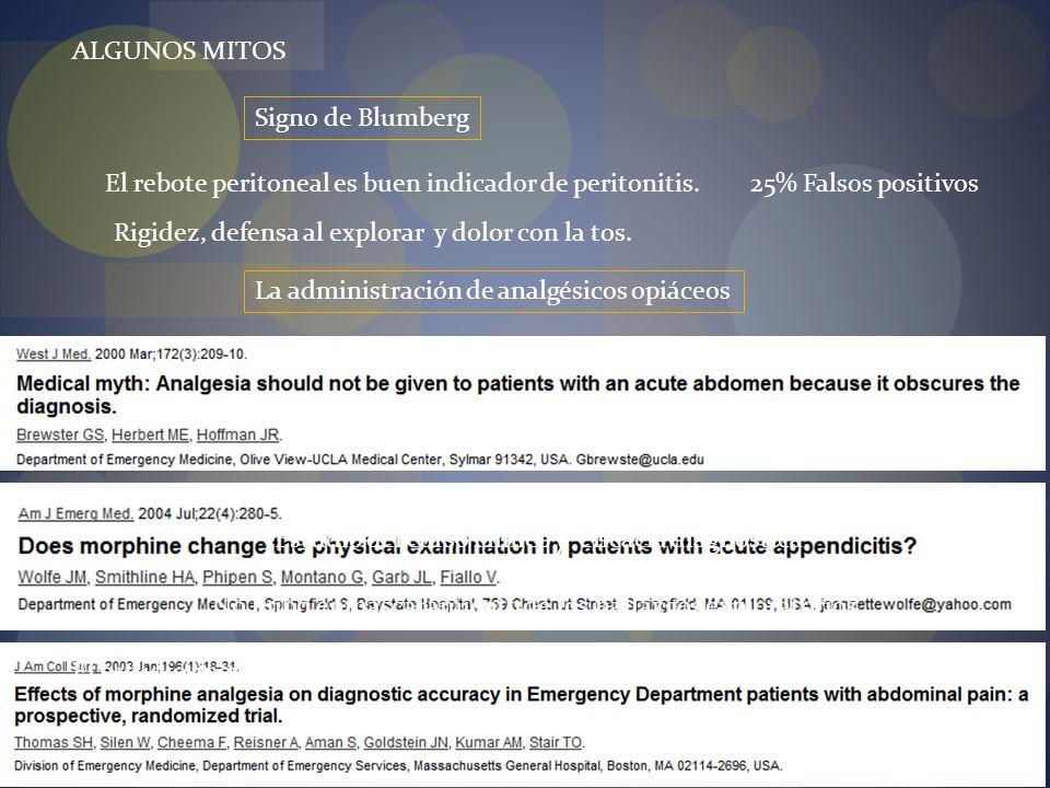 El rebote peritoneal es buen indicador de peritonitis.
