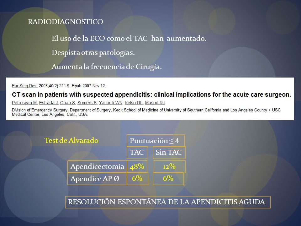 RADIODIAGNOSTICO El uso de la ECO como el TAC han aumentado. Despista otras patologías. Aumenta la frecuencia de Cirugía.