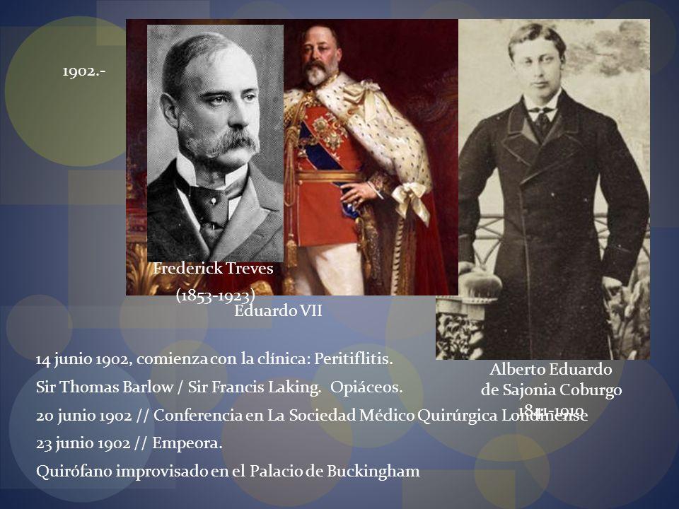 14 junio 1902, comienza con la clínica: Peritiflitis.