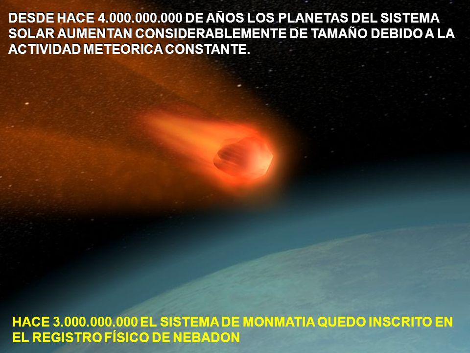 DESDE HACE 4.000.000.000 DE AÑOS LOS PLANETAS DEL SISTEMA SOLAR AUMENTAN CONSIDERABLEMENTE DE TAMAÑO DEBIDO A LA
