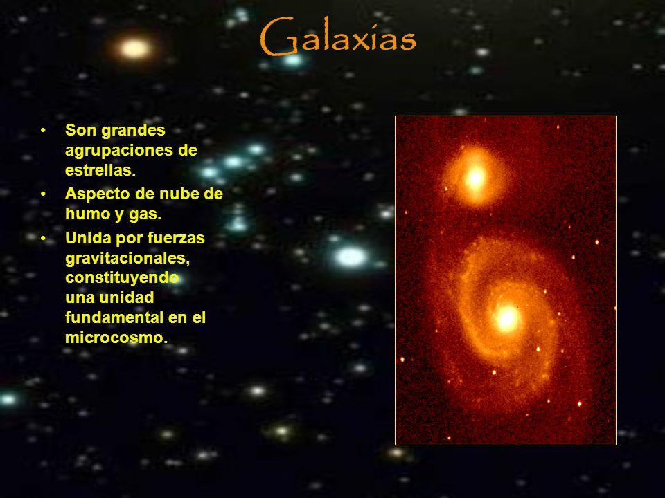 Galaxias Son grandes agrupaciones de estrellas.