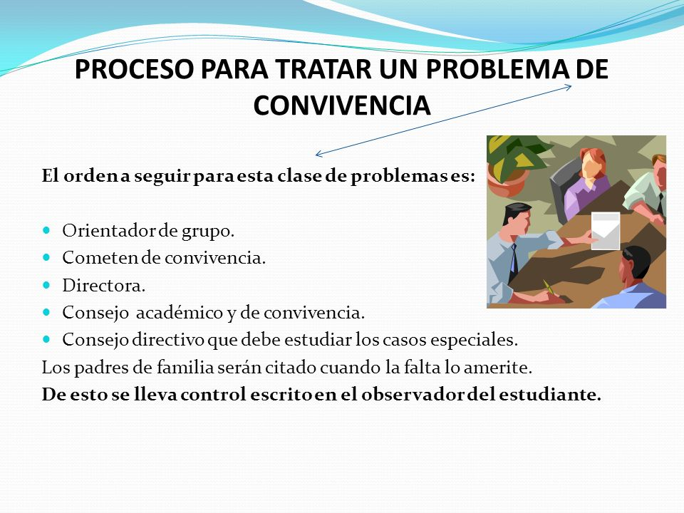 PROCESO PARA TRATAR UN PROBLEMA DE CONVIVENCIA