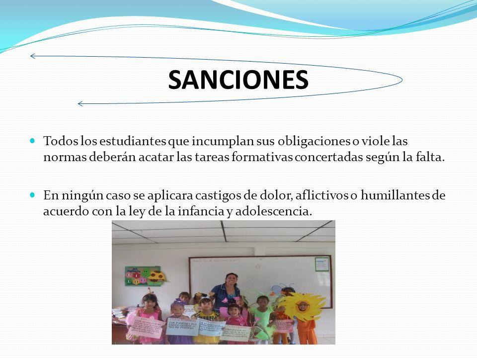 SANCIONES Todos los estudiantes que incumplan sus obligaciones o viole las normas deberán acatar las tareas formativas concertadas según la falta.