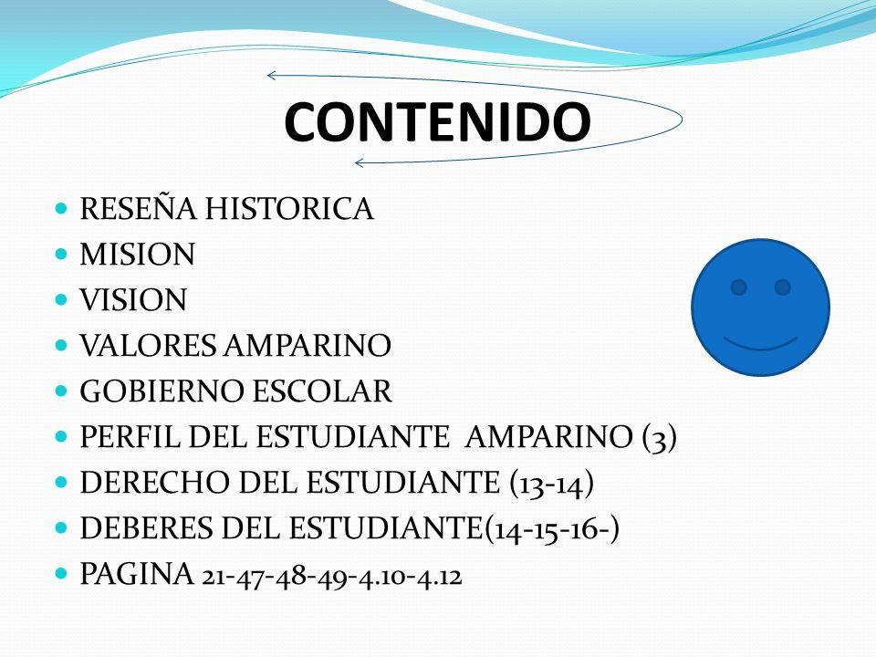 CONTENIDO RESEÑA HISTORICA MISION VISION VALORES AMPARINO