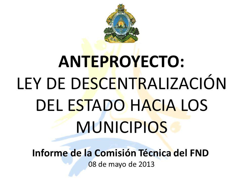ANTEPROYECTO: LEY DE DESCENTRALIZACIÓN DEL ESTADO HACIA LOS MUNICIPIOS