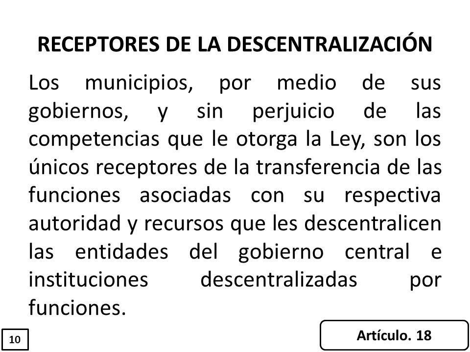 RECEPTORES DE LA DESCENTRALIZACIÓN