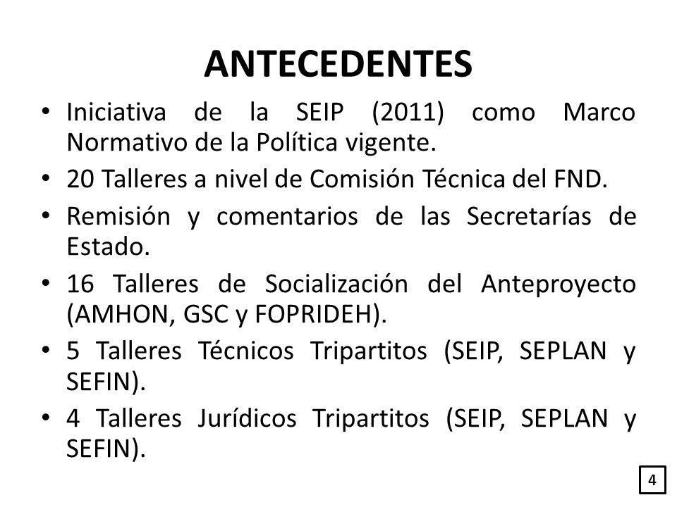 ANTECEDENTES Iniciativa de la SEIP (2011) como Marco Normativo de la Política vigente. 20 Talleres a nivel de Comisión Técnica del FND.