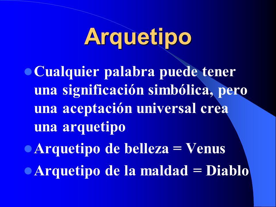 Arquetipo Cualquier palabra puede tener una significación simbólica, pero una aceptación universal crea una arquetipo.