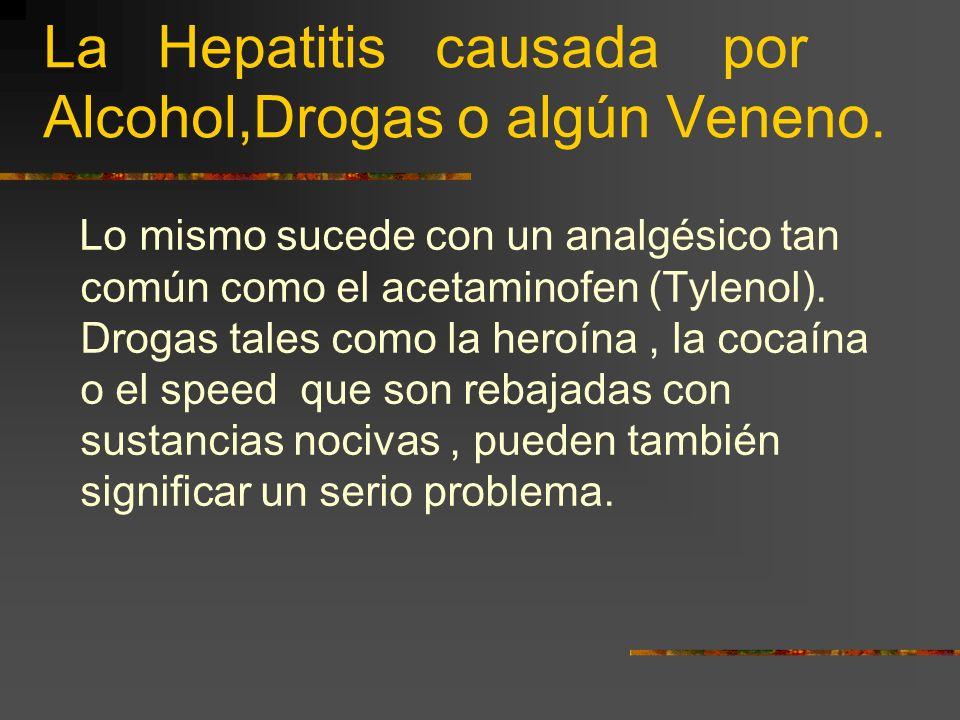La Hepatitis causada por Alcohol,Drogas o algún Veneno.