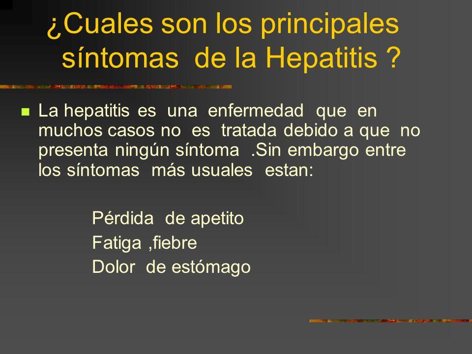 ¿Cuales son los principales síntomas de la Hepatitis