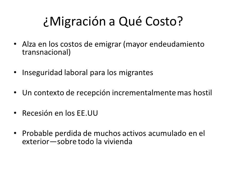 ¿Migración a Qué Costo Alza en los costos de emigrar (mayor endeudamiento transnacional) Inseguridad laboral para los migrantes.