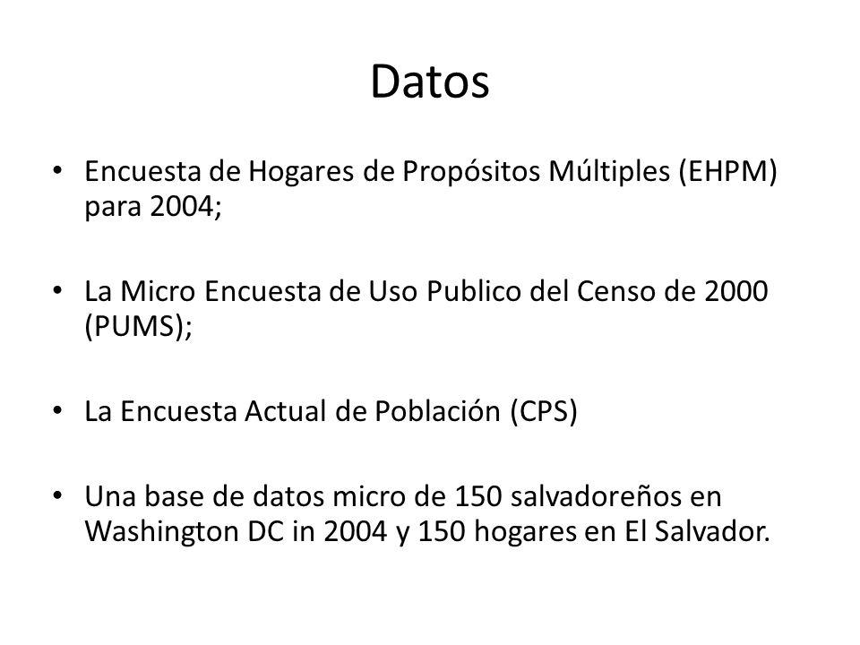 Datos Encuesta de Hogares de Propósitos Múltiples (EHPM) para 2004;