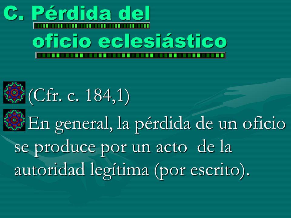 C. Pérdida del oficio eclesiástico. (Cfr. c. 184,1)